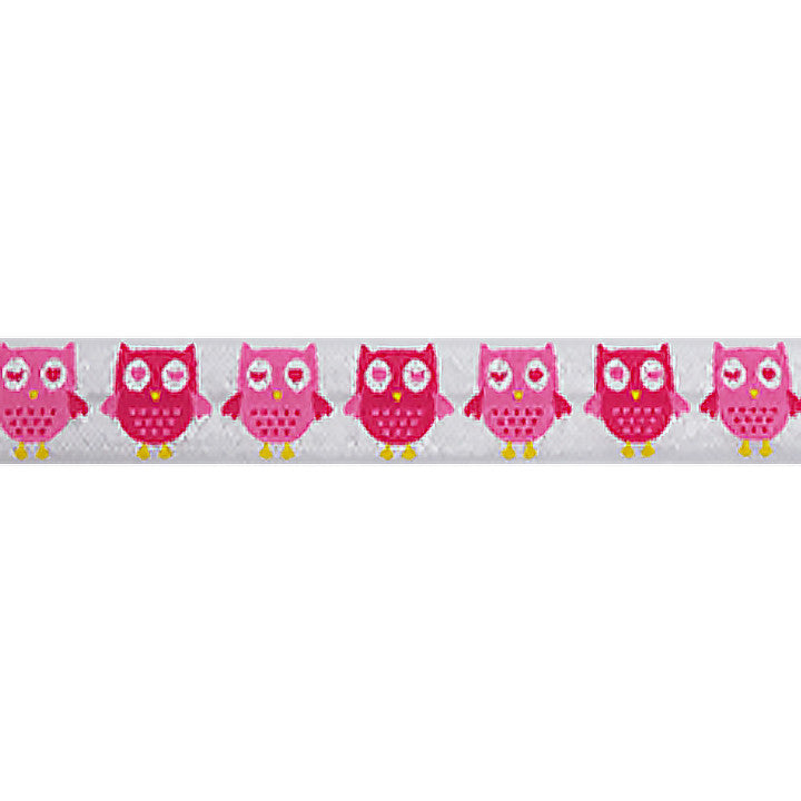"Pink Owls - 5/8"" Printed Fold Over Elastic"