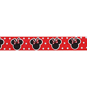 "Minnie Mouse - Red & Polka Dots - 5/8"" Printed Fold Over Elastic"