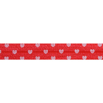 "Red & White Hearts - 5/8"" Printed Fold Over Elastic"