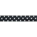 "Black & White Hearts - 5/8"" Printed Fold Over Elastic"
