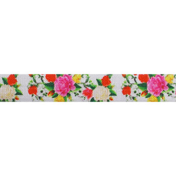 "Pretty Peony - 5/8"" Printed Fold Over Elastic"