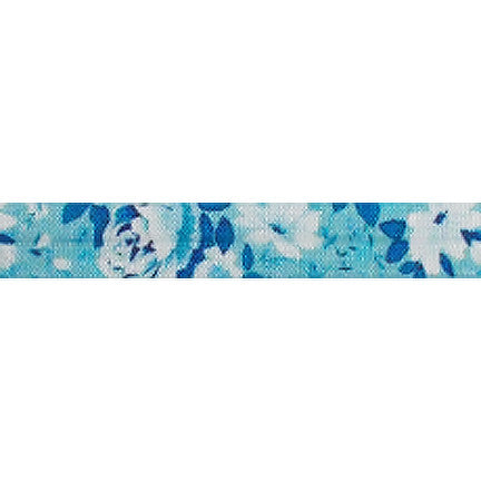 "Something Blue - 5/8"" Printed Fold Over Elastic"