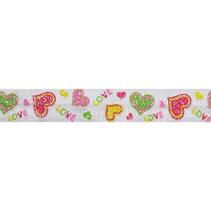 "Glitter Love - 5/8"" Printed Fold Over Elastic"