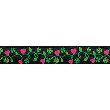 "Hearts & Clovers on Black - 5/8"" Printed Fold Over Elastic"