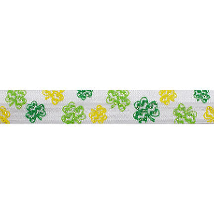 "Glitter Shamrocks - 5/8"" Printed Fold Over Elastic"