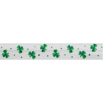 "Mini Shamrocks - 5/8"" Printed Fold Over Elastic"