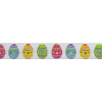 "Glitter Easter Eggs - 5/8"" Printed Fold Over Elastic"