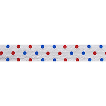 "Patriotic Polka Dots - 5/8"" Printed Fold Over Elastic"