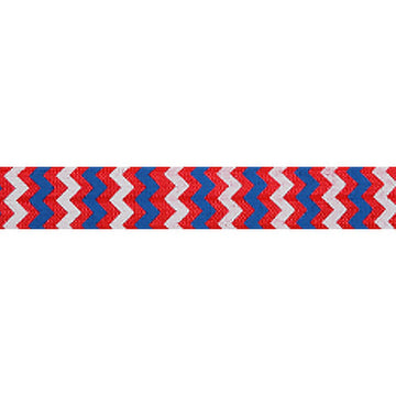 "Patriotic Chevron on Red - 5/8"" Printed Fold Over Elastic"