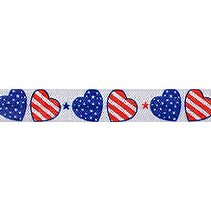 "Patriotic Hearts - 5/8"" Printed Fold Over Elastic"