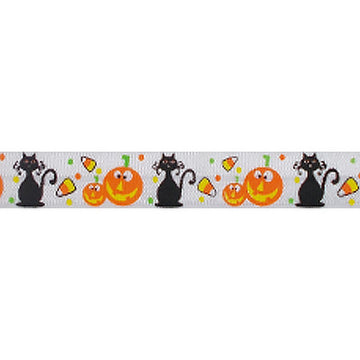"Cats & Lanterns - 5/8"" Printed Fold Over Elastic"