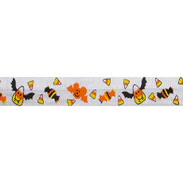 "Batty Candy Corn - 5/8"" Printed Fold Over Elastic"