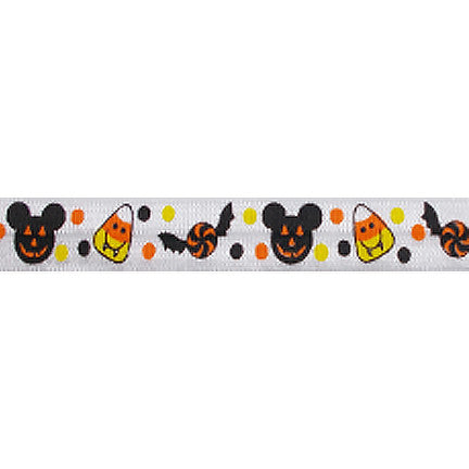 "Jack-o-Mouse - 5/8"" Printed Fold Over Elastic"