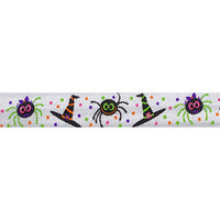 "Dancing Spiders & Hats - 5/8"" Printed Fold Over Elastic"