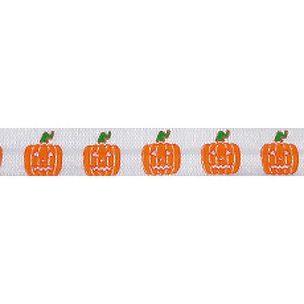 "Jack-o-Lanterns - 5/8"" Printed Fold Over Elastic"