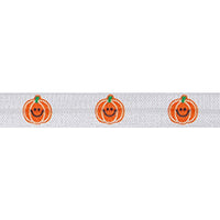 "Orange Pumpkins - 5/8"" Printed Fold Over Elastic"