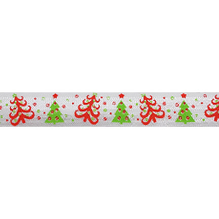 "Christmas Tree Duo - 5/8"" Printed Fold Over Elastic"