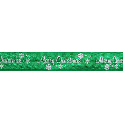 "Green Merry Christmas - 5/8"" Printed Fold Over Elastic"
