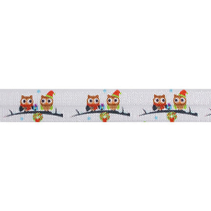 "Happy Owlidays - 5/8"" Printed Fold Over Elastic"