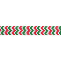 "Christmas Chevron - 5/8"" Printed Fold Over Elastic"