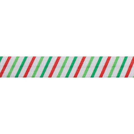 "Jolly Christmas Stripes - 5/8"" Printed Fold Over Elastic"