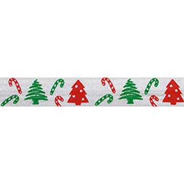 "Christmas Trees & Candy Canes - 5/8"" Printed Fold Over Elastic"