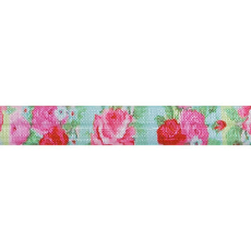 "English Rose Garden - 5/8"" Printed Fold Over Elastic"
