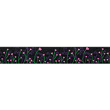 "Black Whimsical Fields - 5/8"" Printed Fold Over Elastic"