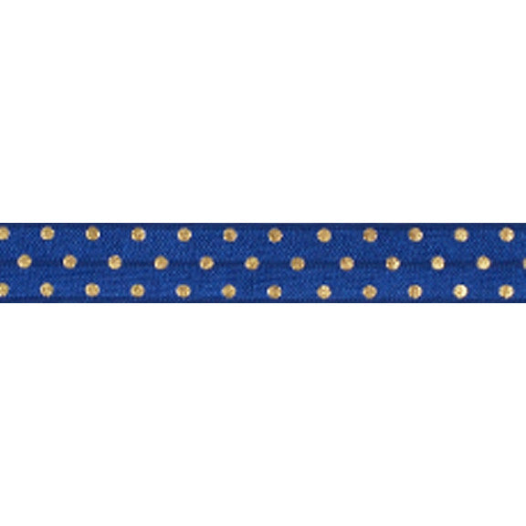 "Navy Blue + Gold Dot - 5/8"" Metallic Printed Fold Over Elastic"
