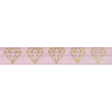 "Ballerina Pink & Gold Diamonds - 5/8"" Metallic Printed Fold Over Elastic"
