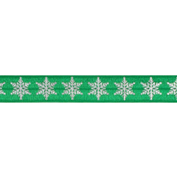 "Green & Silver Snowflakes - 5/8"" Metallic Printed Fold Over Elastic"