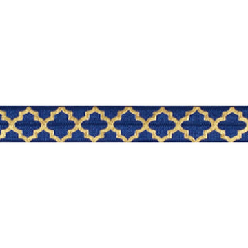 "Navy Blue & Large Gold Quatrefoil - 5/8"" Metallic Printed Fold Over Elastic"