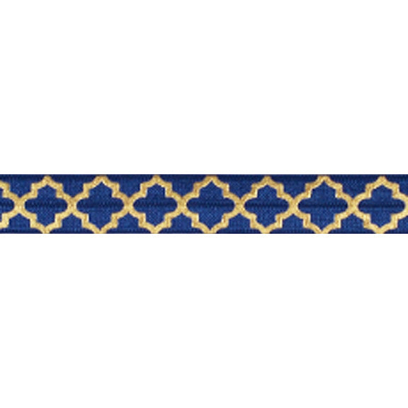 "Navy Blue + Large Gold Quatrefoil - 5/8"" Metallic Printed Fold Over Elastic"