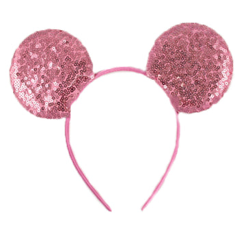 "Pink - 3.25"" Sequins Mouse Ears Headband"