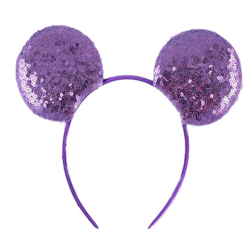 "Lavender - 3.25"" Sequins Mouse Ears Headband"