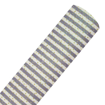 Gray + Gold Polka Stripes - Fine Glitter Fabric Sheet