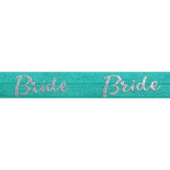 "Aquamarine & Silver Bride - 5/8"" Metallic Printed Fold Over Elastic"