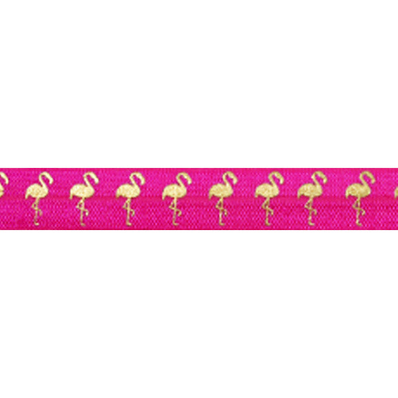 "Hot Pink & Gold Flamingos - 5/8"" Metallic Printed Fold Over Elastic"