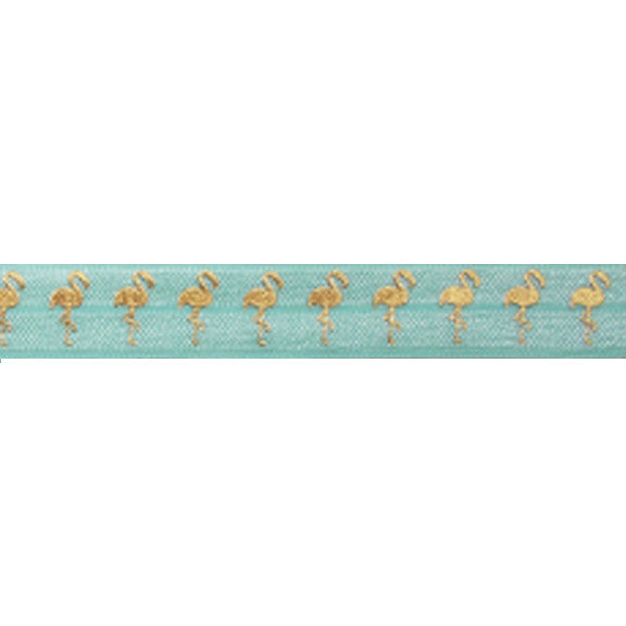 "Sea Foam & Gold Flamingos - 5/8"" Metallic Printed Fold Over Elastic"
