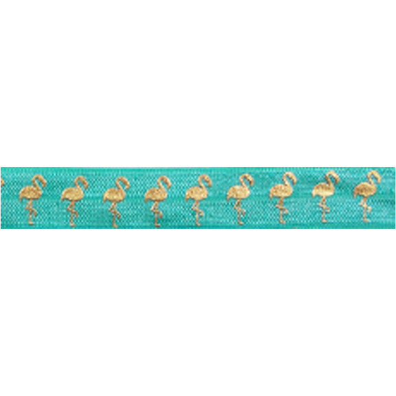 "Aquamarine & Gold Flamingos - 5/8"" Metallic Printed Fold Over Elastic"