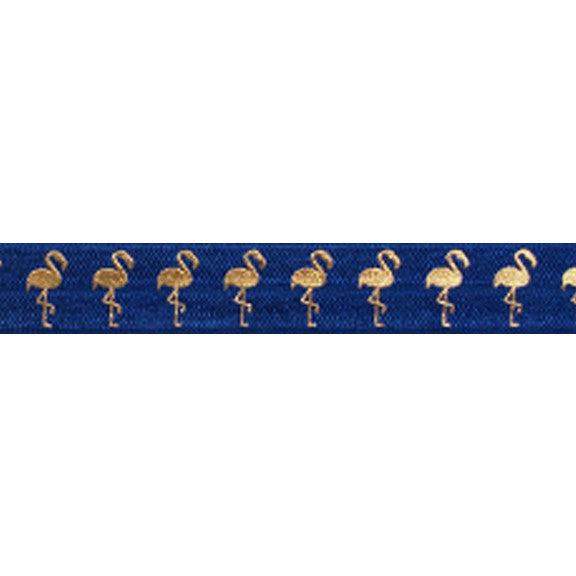"Navy Blue & Gold Flamingos - 5/8"" Metallic Printed Fold Over Elastic"