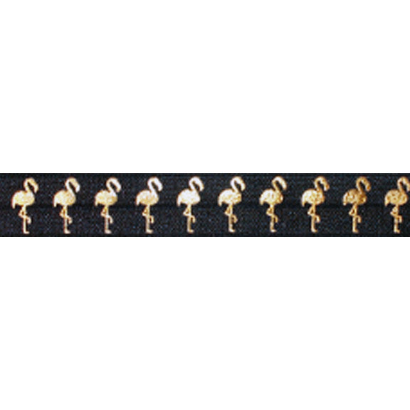 "Black & Gold Flamingos - 5/8"" Metallic Printed Fold Over Elastic"