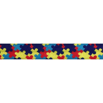 "Autism -  5/8"" Printed Fold Over Elastic"