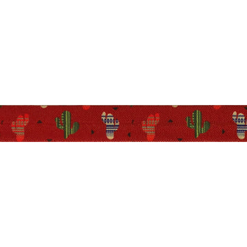 "Cactus on Red -  5/8"" Printed Fold Over Elastic"