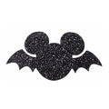 "Black Glitter Mouse Bat - 2.25"" Felt Applique"