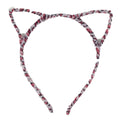 Pale Pink Leopard - Fuzzy Cat Ears Headband