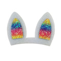 "Rainbow Bunny Ears - 3"" Felt + Glitter Applique"