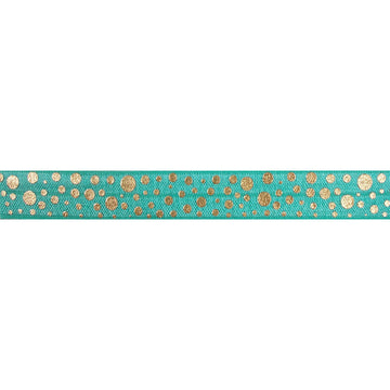 "Aquamarine & Gold Confetti Polka Dots - 5/8"" Metallic Printed Fold Over Elastic"