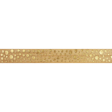 "Gold & Gold Confetti Polka Dots - 5/8"" Metallic Printed Fold Over Elastic"