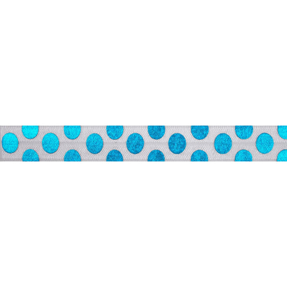 "Blue Hologram Polka Dots - 5/8"" Metallic Printed Fold Over Elastic"